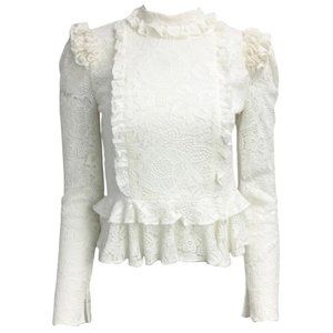 Laura Garcia White Long Sleeved Lace Blouse